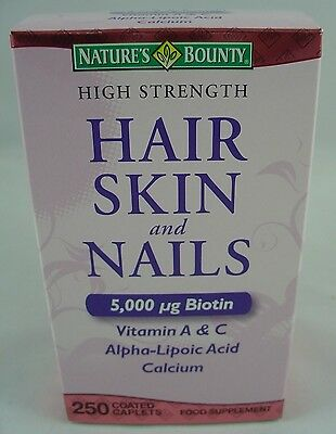 NATURE'S BOUNTY HAIR SKIN AND NAILS 5000 mcg of Biotin 250 Coated Tablets Sealed