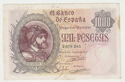 SPAIN 1000 pesetas 1940 XF old FORGERY with faible watermark rare P.125x