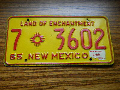 New Mexico 1966 on 1965 Base Vintage License Plate Garage Old Car Tag Man Cave