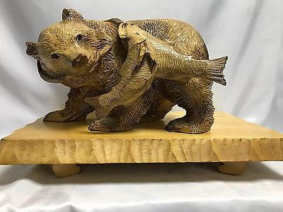 Very Rare! Wood Carving Bear Ainu Hokkaido Old Type  Free Shipping by EMS