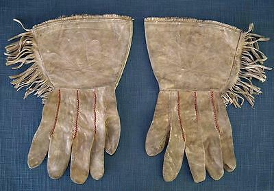 Native American Indian Leather Men's Fringed Gauntlets Gloves