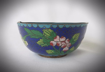Antique Chinese Enameled Cloisonne Small Trinket Bowl/Cup