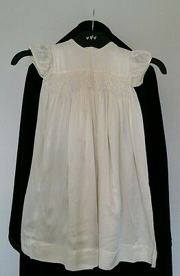 Vintage 1950s christening gown hand smocked ivory full length