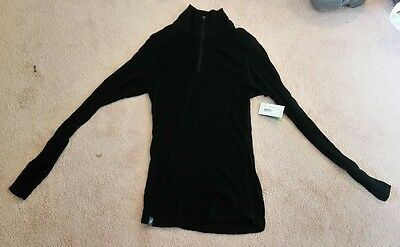 Ibex Merino Wool Womens Woolies 220 Long Sleeve Zip TNeck Base Layer Top Black M