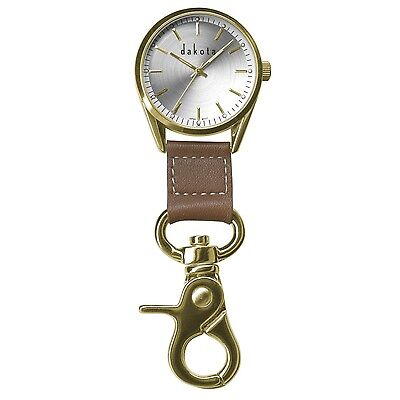Dakota Classic Dress Clip Watch-Gold Case/Leather Fob 3870-3
