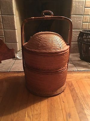 Antique Chinese Woven Bamboo Double Two Tier Wedding Sewing Basket Vintage