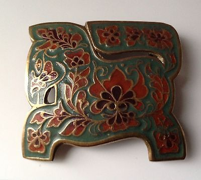 VINTAGE LARGE ENAMEL / BRASS BUCKLE  - FROM THE 1970s