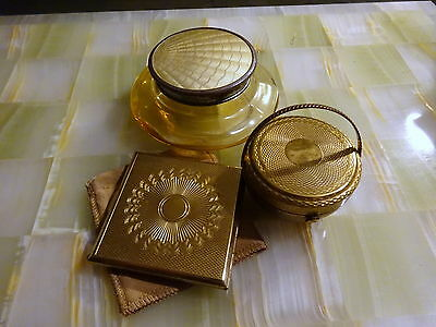 Lot Vtg Kigu Engine Turned Compacts & Guiloche Enamel Art Deco Powder Glass Jar