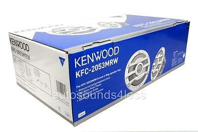 "NEW Kenwood KFC-2053MRW 600 Watts 8"" 2-Way WHITE Marine Boat Audio Speakers"