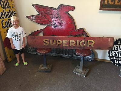 Rare Original Superior Wood Sign Grain Press Implement Tractor Barn Farm