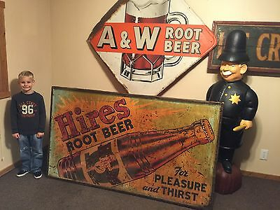 Rare Original Hires Root Beer Metal Sign Soda Pop Diner Gas Station