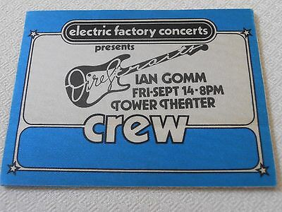DIRE STRAITS - with Ian Gomm - RARE! BACKSTAGE CREW PASS Tower Theater 1980's