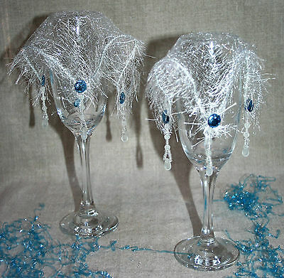 2 BEAUTIFUL silver fabric wine veils jug & glass covers VINTAGE BEADS Festive