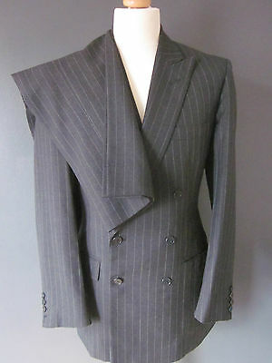 CLASSIC VINTAGE BESPOKE GRAHAM BROWNE SUIT (38x31x28-SHORT) D/BREASTED GREY CHAL