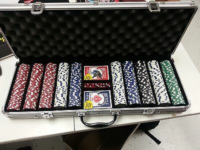 500 Piece Heavy  Poker Chip Set for Cards Texas Holdem locking Case