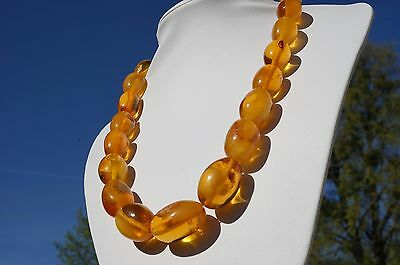 Antique Baltic states natural amber necklace 76 grams, beeswax,honey color, rare