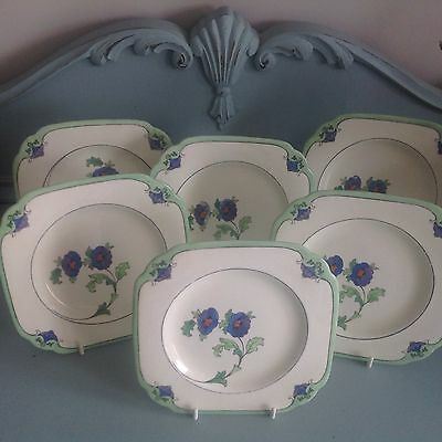 Set of 6 Art Deco Blue Tuscan China square tea plates floral design.