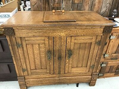 ANTIQUE Rare One Of A Kind ICE BOX - Oak 2 Door Chest Brass Hardware