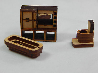 "Dollhouse Miniature 1/4"" Scale 1:48  Bath Room  Set  Made of  Plywood #Z295"