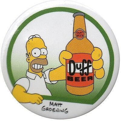 The Simpsons Homer Duff Beer Bottle LARGE 1.5 inch pin badge Official