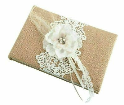 Wedding Guest Book Burlap Hessian Lace Rustic Country Vintage Signing Album