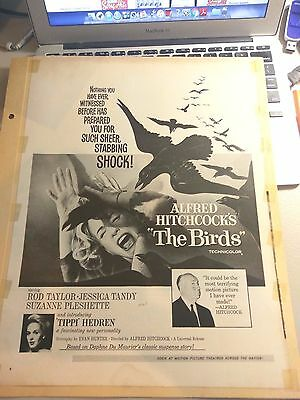"""1963 magazine ad for the movie """"The Birds"""", Hitchcock classic, Tippi Hedren"""