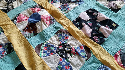 Early 1900s Hand Sewn FEED FLOUR SACK Quilt Top Aqua Yellow Pink LOOK!!