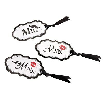 Mr Mrs and More Mrs Luggage Tags Honeymoon Travel Wedding Gift Mustache Lips