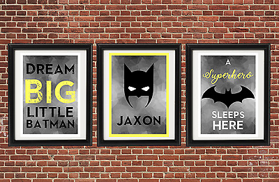 Kids Personalised batman print A4 A5 Set Buy 2 Get 1 FREE Geometric Chevron Grey