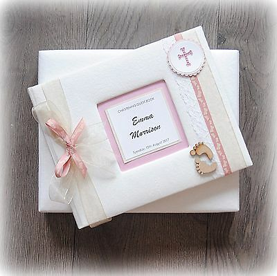 PERSONALISED BABY GIRL CHRISTENING/ NAMING DAY/BAPTISM GUEST BOOK Handmade boxed