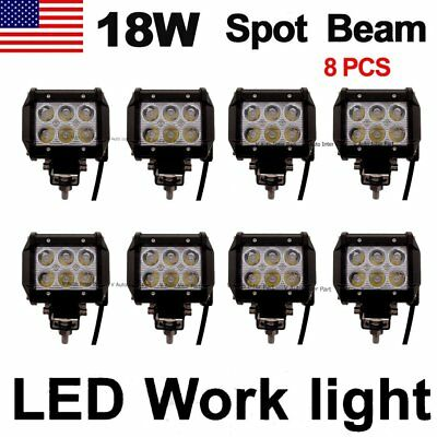 8X 18W Cree LED Work Light Bar Driving Fog Spot Lamp Offroad SUV ATV 4WD US Ship
