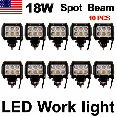 10X 18W Cree LED Work Light Bar Driving Fog Spot Lamp Offroad SUV ATV 4WD US
