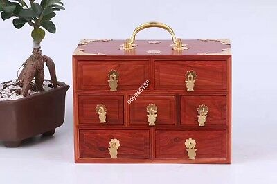 red hard wood rosewood carved Chinese 7-drawer jewelry box w copper holder