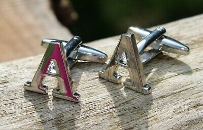Men's Initial Letter A Cufflinks and Gift Box ~ Mens Novelty Formal Accessory