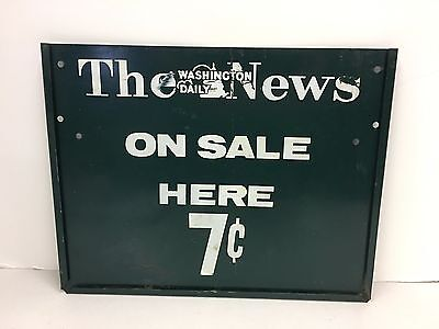 Vintage The Washington DC Daily News Newspaper Stand Sign Historical Paper