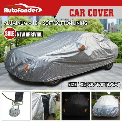 3x Layers Double Thick Waterproof Car Cover Rain Resistant UV Dust Protection