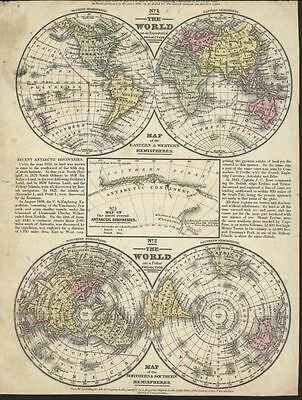 Mitchell 1852 Map of World on Polar Projection