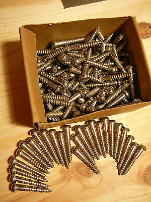 "NEW 1 1/2"" #12 Round Head Wood Screws Lot of 25 Nickel Plated,Pheoll Mfr.Co.RARE"