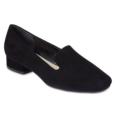 NEW Sandler Fame Black Suede Loafer with Heel Womens Shoes