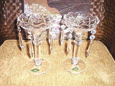 Pair of Matching Shannon Crystal Mantel Lusters w/Crystal Prisms