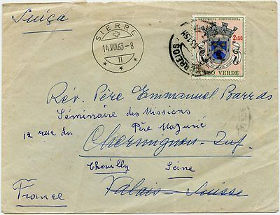 Cape Verde 1963 Cover to Switzerland w/Arms 2.50e Solo, Forwarded to France