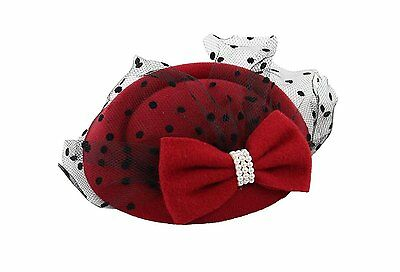 Women's Fascinators Hat Pillbox Hat Cocktail Party Hat with Veil Hair Clip Red