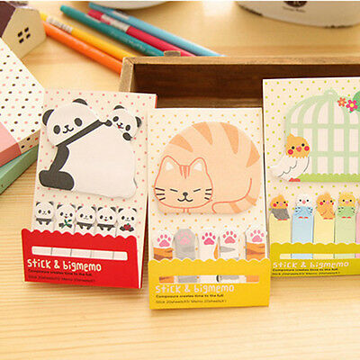 Cute Animal Cat Panda Sticky Notes Memo Pad School Supplies Planner Bookmark Hot