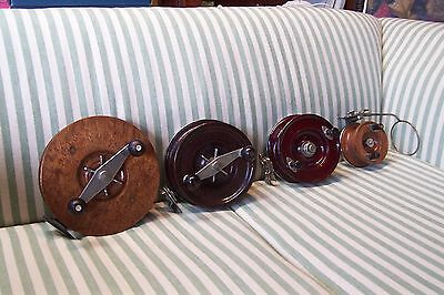 Fishing Reels Antique Vintage Collection (4) Alvey Wooden Spools various sizes