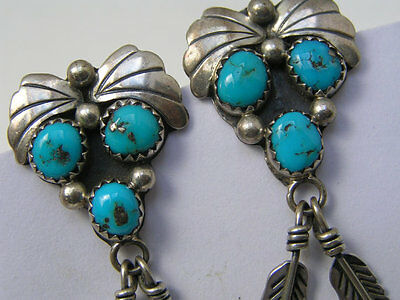 Vintage  Signed Long Tribal Mexican Sterling Silver Turquoise Dangle earrings