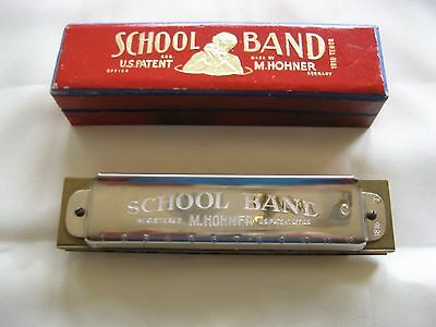 Vintage Hohner School Band Harmonica 1816 Tenor in original box VGC