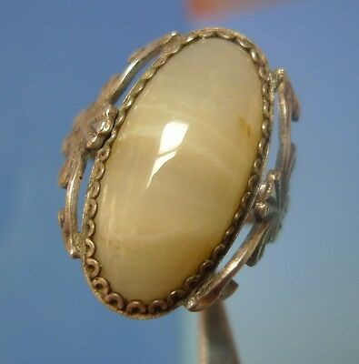 Vintage USSR Soviet Kharkiv Jewelry F. Silver 875 RING White AGATE gem Size 11