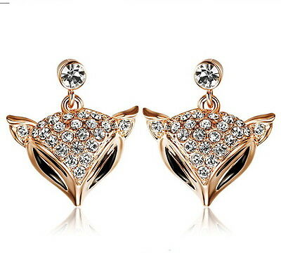Rose Gold Filled Made with Swarovski Crystal Women Dangle Fox Earring IE111