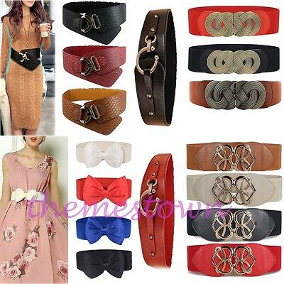 Womens Lady Stretch Buckle Waist Belt Bow Wide Leather Waistband Elastic Corset