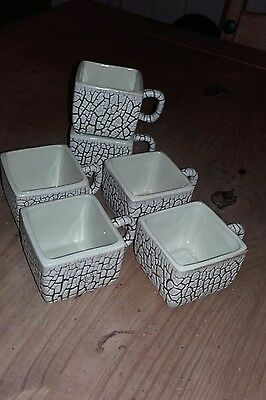 Set of West german pottery crackle glaze espresso square cups x 6 rare.Jopeko